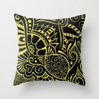 Golden Curves on Black Throw Pillow