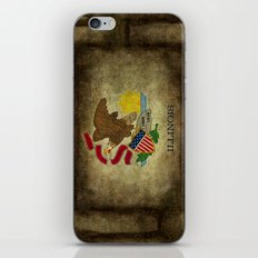 State flag of  Illinois, grungy vintage textures iPhone & iPod Skin