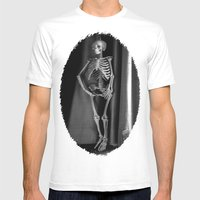 The Skeleton by the Printer Mens Fitted Tee White SMALL