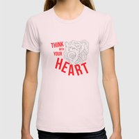 Think With Your Heart Womens Fitted Tee Light Pink SMALL