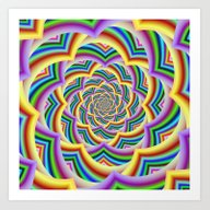 Art Print featuring Colorful Curved Chevron … by Objowl