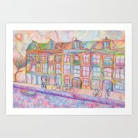 Wandering Amsterdam - Colored Pencil Art Print