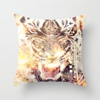 Feline Fire Throw Pillow