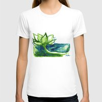 Green Lotus Womens Fitted Tee White SMALL