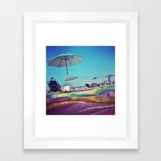 Sitting On A Towel Framed Art Print