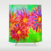 Bright Sketch Flowers Shower Curtain