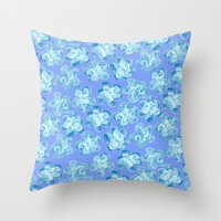 Wallflower - Colony Blue Throw Pillow