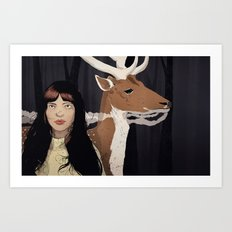 Girl & Doe Art Print