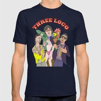 Three Loco Mens Fitted Tee Navy SMALL