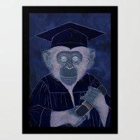 Graduating Chimp Art Print