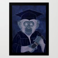 Graduating Chimp Art Print