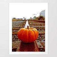 Art Print featuring Railroad pumpkin by Vorona Photography