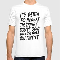 #NOREGRETS White Mens Fitted Tee SMALL