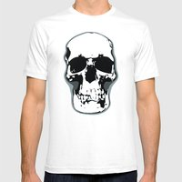 Skull Print Mens Fitted Tee White SMALL