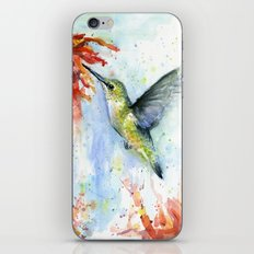 Hummingbird and Red Flower Watercolor iPhone & iPod Skin