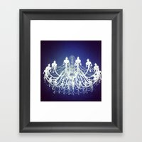 Chandelier | Black and White Photography | Romantic, Sparkly, Dreamy Light Framed Art Print
