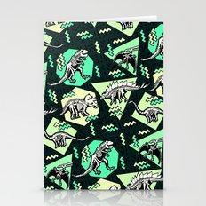 90's Dinosaur Skeleton Neon Pattern Stationery Cards