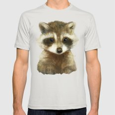 Little Raccoon Mens Fitted Tee Silver SMALL