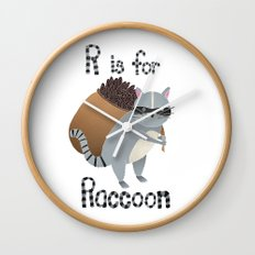 R is for Raccoon Wall Clock