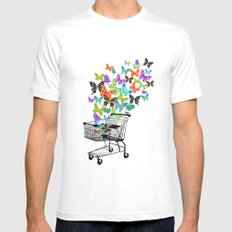 Urban Butterflies SMALL Mens Fitted Tee White