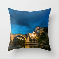 Throw Pillow featuring Mostar At Night by Mindof2-Photo