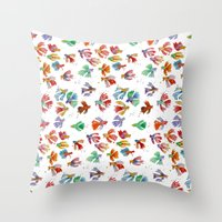 Colorful Fishes Throw Pillow