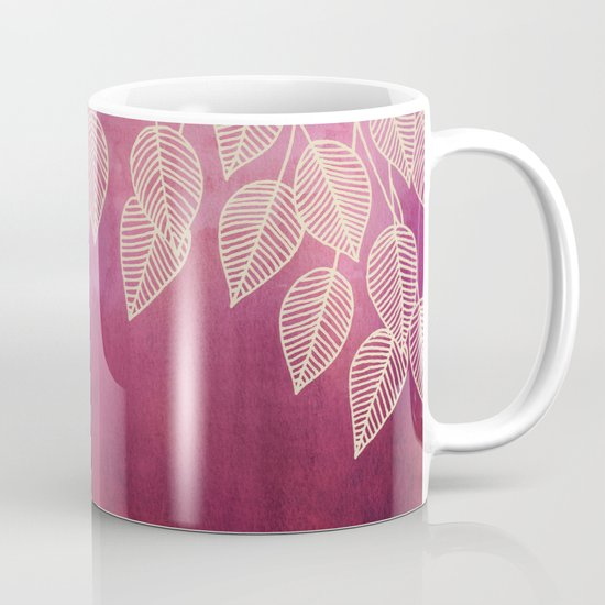 Magenta Garden - watercolor & ink leaves Mug
