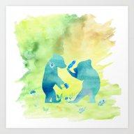 Playing Bear Kids I Art Print