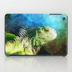 Blue And Green Iguana Profile iPad Case