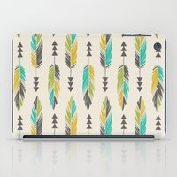 Painted Feathers in a Row-Cream iPad Case