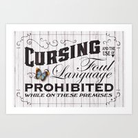 No Cursing Sign Art Print