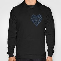 Hearts Heart Red On Navy Hoody