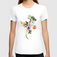 Watercolor spring floral pattern Womens Fitted Tee White SMALL