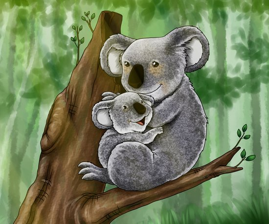 Cute Koala and Baby Art Print
