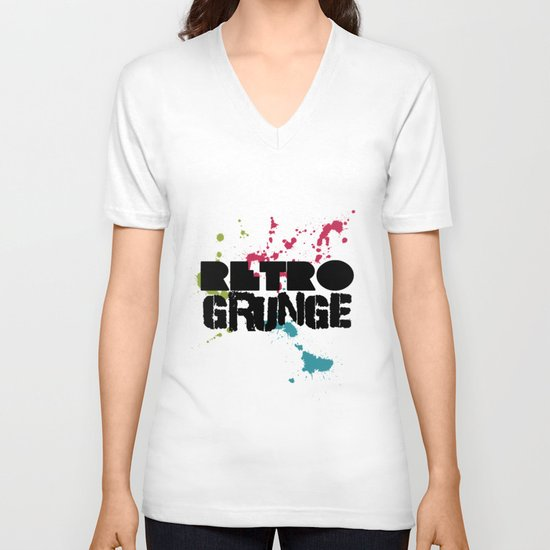 Abstract373 Retro Grunge V-neck T-shirt