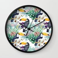 Tropical Watercolor 2 Wall Clock
