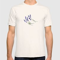 Lavender Flowers Mens Fitted Tee Natural SMALL