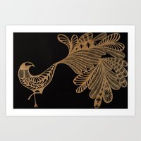 Golden Bird #4 Art Print