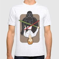 Darth Vader and Luke Mens Fitted Tee Ash Grey SMALL