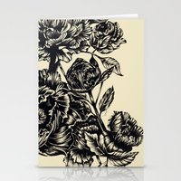 Peonies, black & white  Stationery Cards