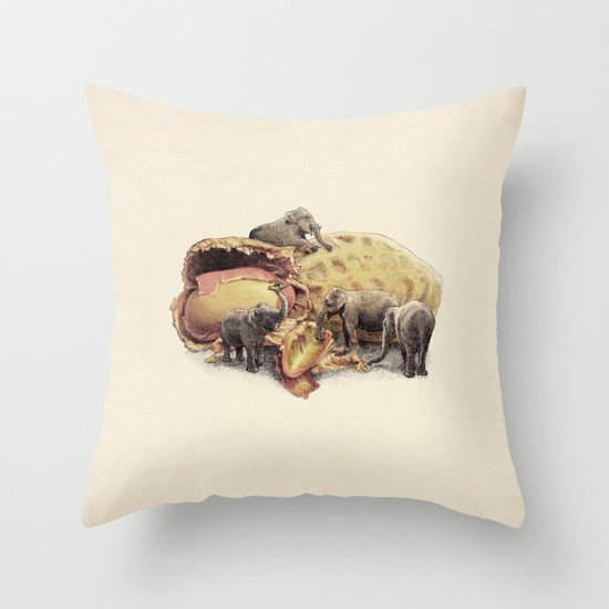 Elephant's Paradise Throw Pillow