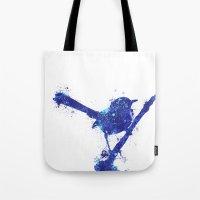 Fairy Wren Watercolour Splash Tote Bag