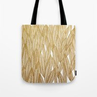 Gold & White Leaves Tote Bag