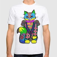 cheshire cat Mens Fitted Tee Ash Grey SMALL