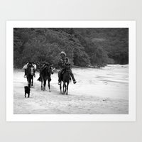 3 Horses, 1 Dog, 1 Man O… Art Print