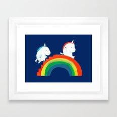 Unicorn on rainbow slide Framed Art Print