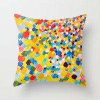 SWEPT AWAY 2 - Vibrant Colorful Rainbow Mango Yellow Waves Mermaid Splash Abstract Acrylic Painting Throw Pillow
