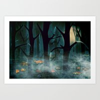 The Woods at Night Art Print