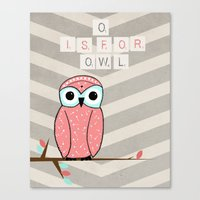 O is for Owl Canvas Print