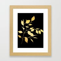Leaves Gold on Black Framed Art Print
